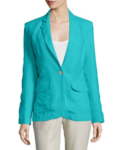 Neiman Marcus One-Button Fitted Blazer & Straight-Leg