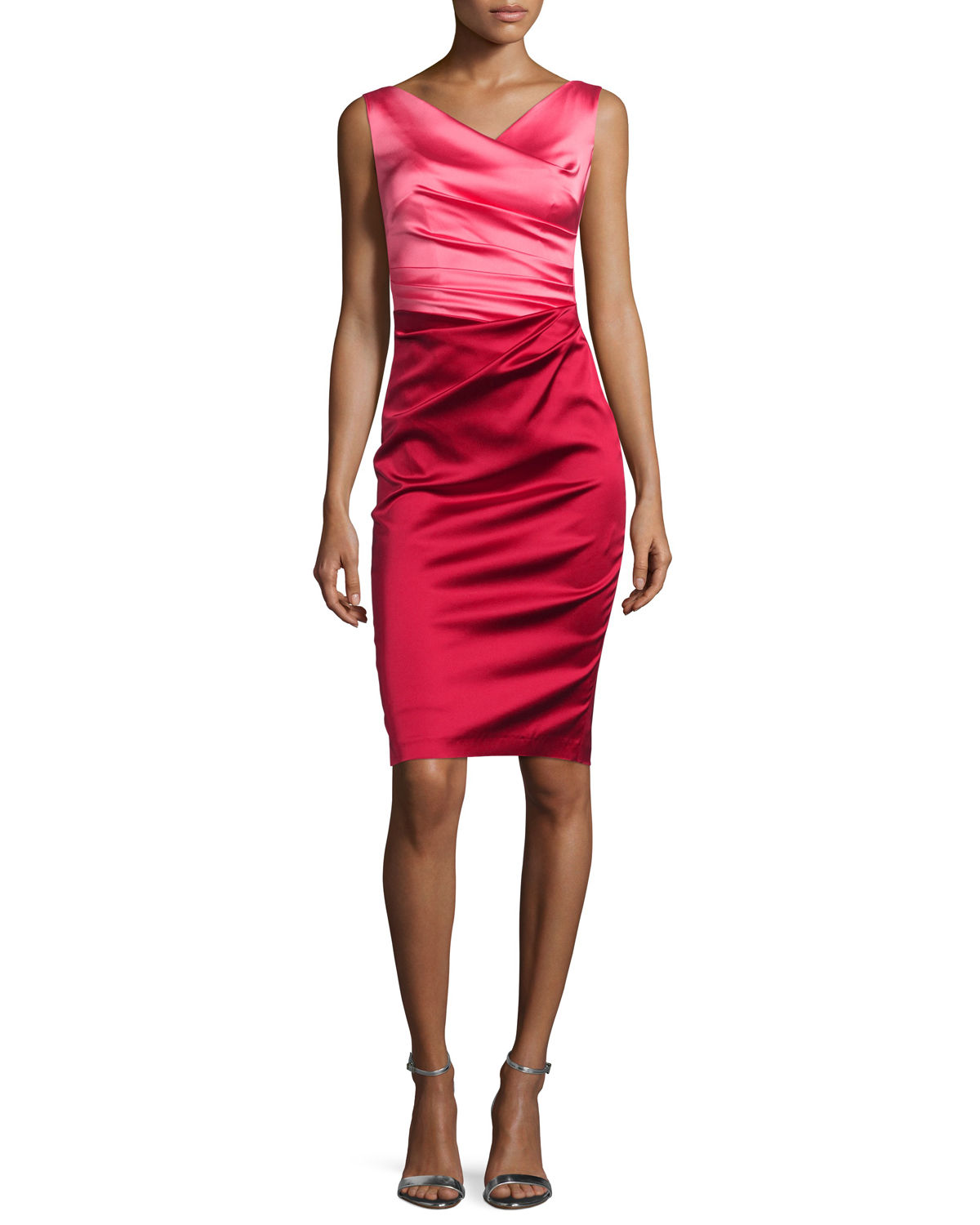 Colly Colorblock Ruched Cocktail Dress