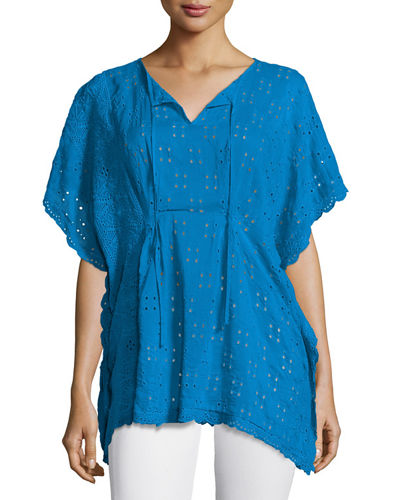 Johnny Was Eyelet Short-Sleeve Poncho