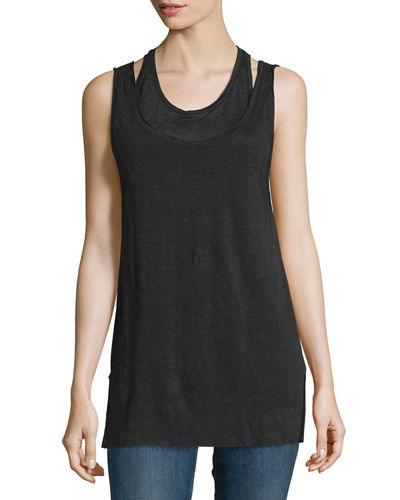 Scoop-Neck Double-Layer Tank