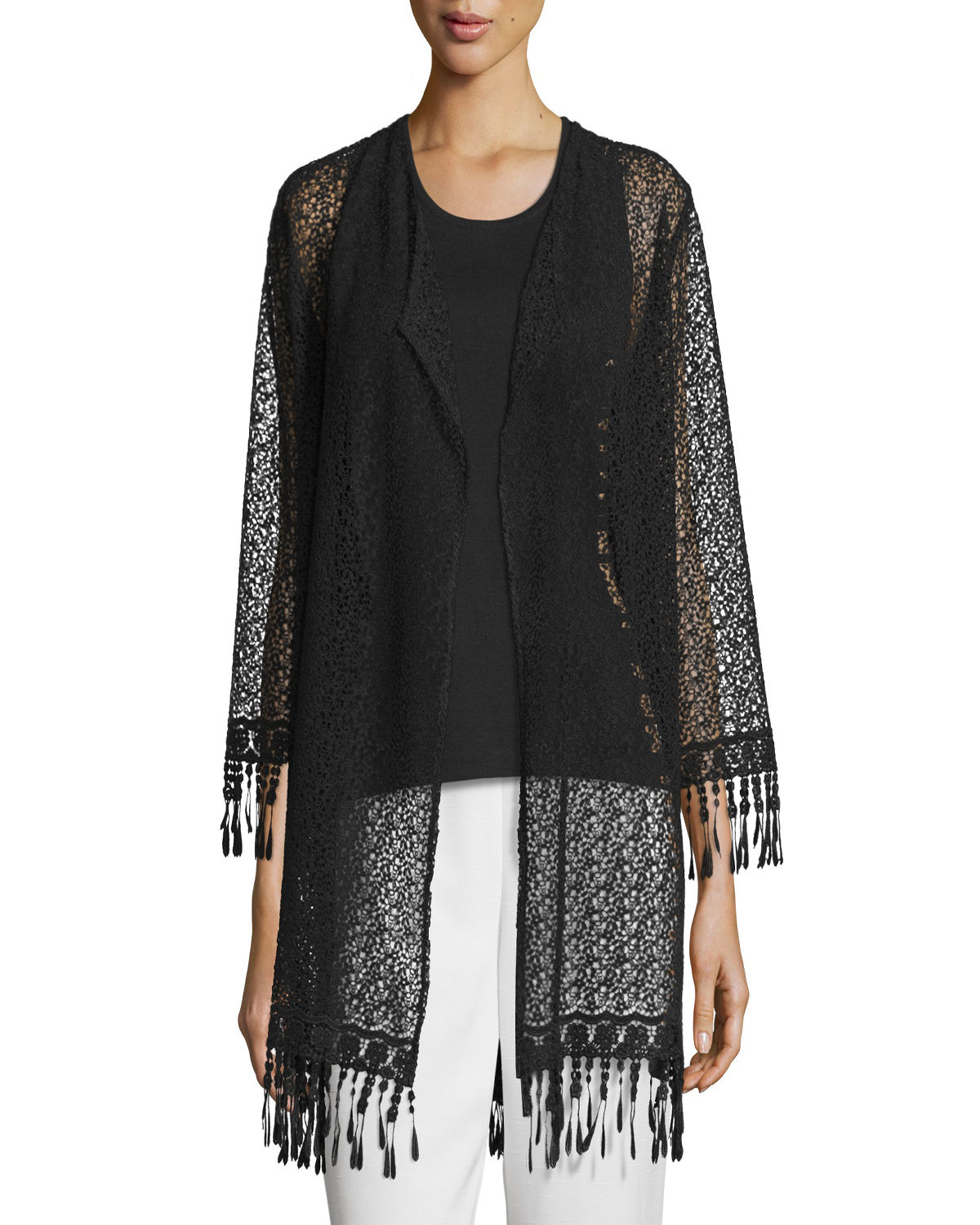 Long Lace Jacket W/ Fringe Trim