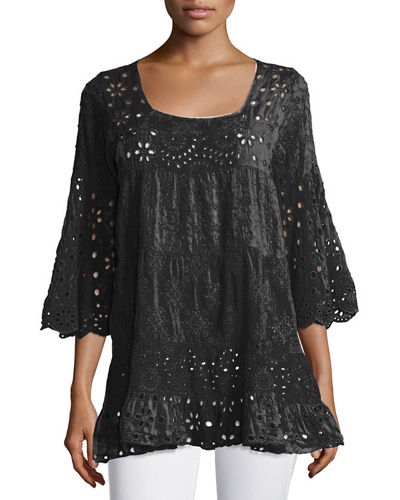 Bell-Sleeve Eyelet Tiered Tunic, Plus Size