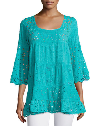 Johnny Was Bell-Sleeve Eyelet Tiered Tunic & Ajamite