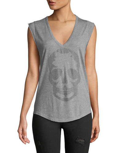 Brooklyn Strass Cotton Skull Tee  Blanc