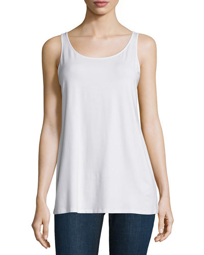 Sleeveless Scoop-Neck Lightweight Jersey Tank, Plus Size