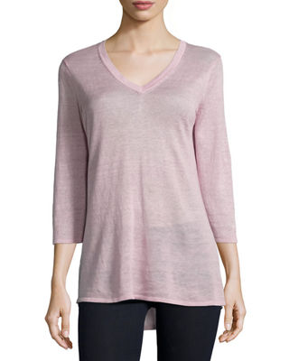 BELFORD 3/4-Sleeve V-Neck Tunic in Light Pink