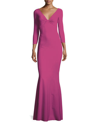 Image 1 of 3: Custom Collection: Saturnnia 3/4-Sleeve Twist-Front Long Gown