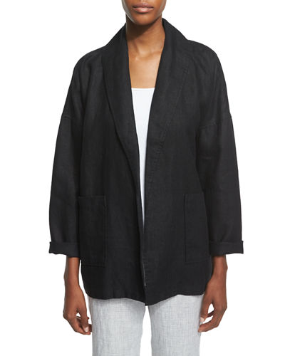 Eileen Fisher Heavy Linen Jacket with Pockets, Sleeveless