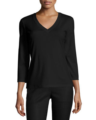 Lafayette 148 New York Stretch Cotton 3/4-Sleeve V-Neck