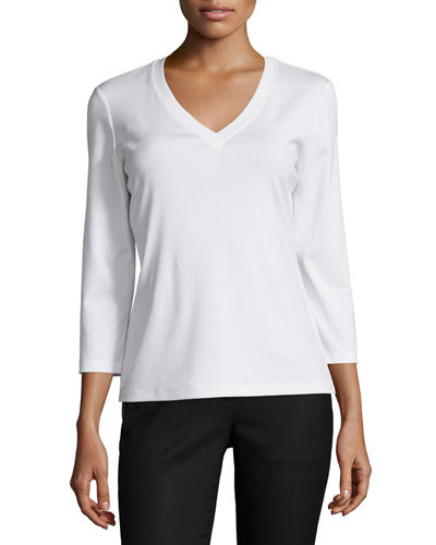 Stretch Cotton 3/4-Sleeve V-Neck Tee