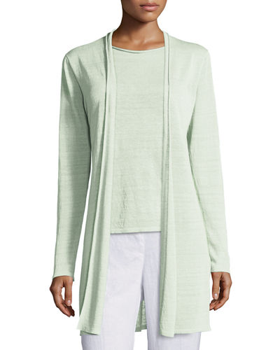 Eileen Fisher Fine Organic Linen Long Cardigan, Scoop-Neck