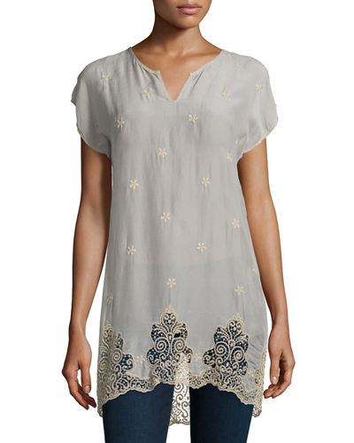 Johnny Was Seal Short-Sleeve Long Lace-Hem Tunic &