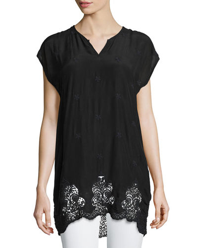 Seal Short-Sleeve Long Lace-Hem Tunic