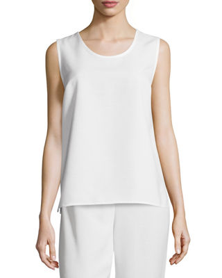Caroline Rose Shantung Longer-Cut Tank, Petite