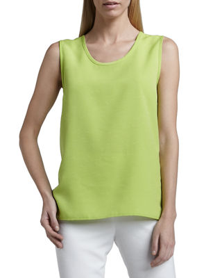 Caroline Rose Shantung Big-Button Shirt, Tank & Slim