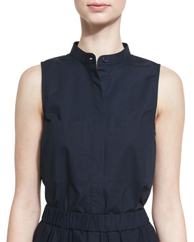 MICHAEL Michael Kors Sleeveless Cotton Blouse & Pleated