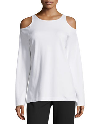 Eyelet-Embroidered Cold-Shoulder Blouse Neiman Marcus