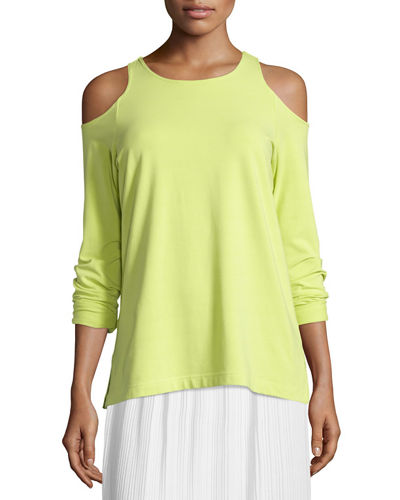 Joan Vass Petite Cold-Shoulder Long-Sleeve Top