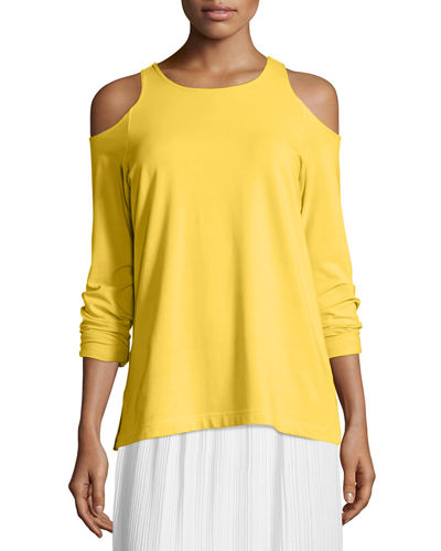 Joan Vass Cold-Shoulder Long-Sleeve Top