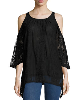 Image 1 of 3: Risette Cold-Shoulder Bouquet-Embroidered Top