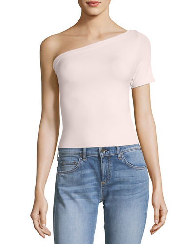 Helmut Lang One-Shoulder Stretch-Knit Tee, Black and Matching