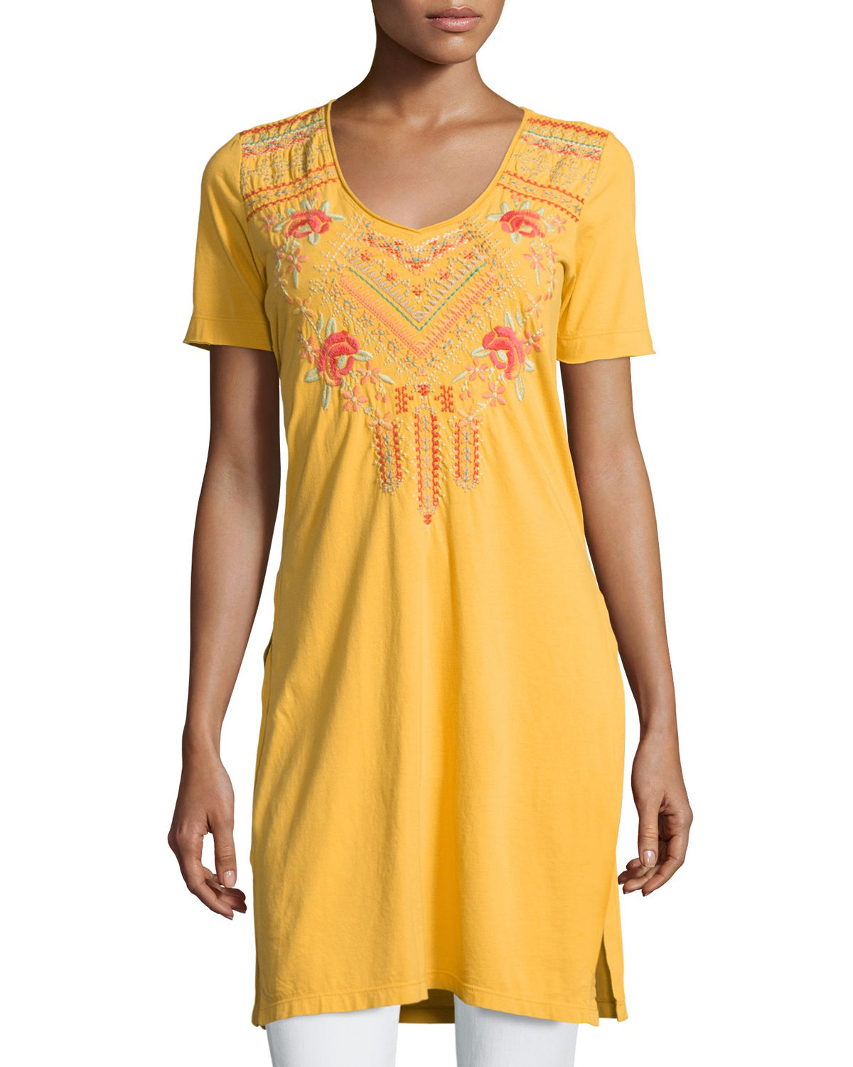 Sonya Side-Slit Embroidered Tunic, Plus Size