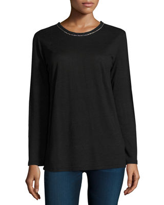 Majestic Paris for Neiman Marcus Embellished-Collar Long-Sleeve