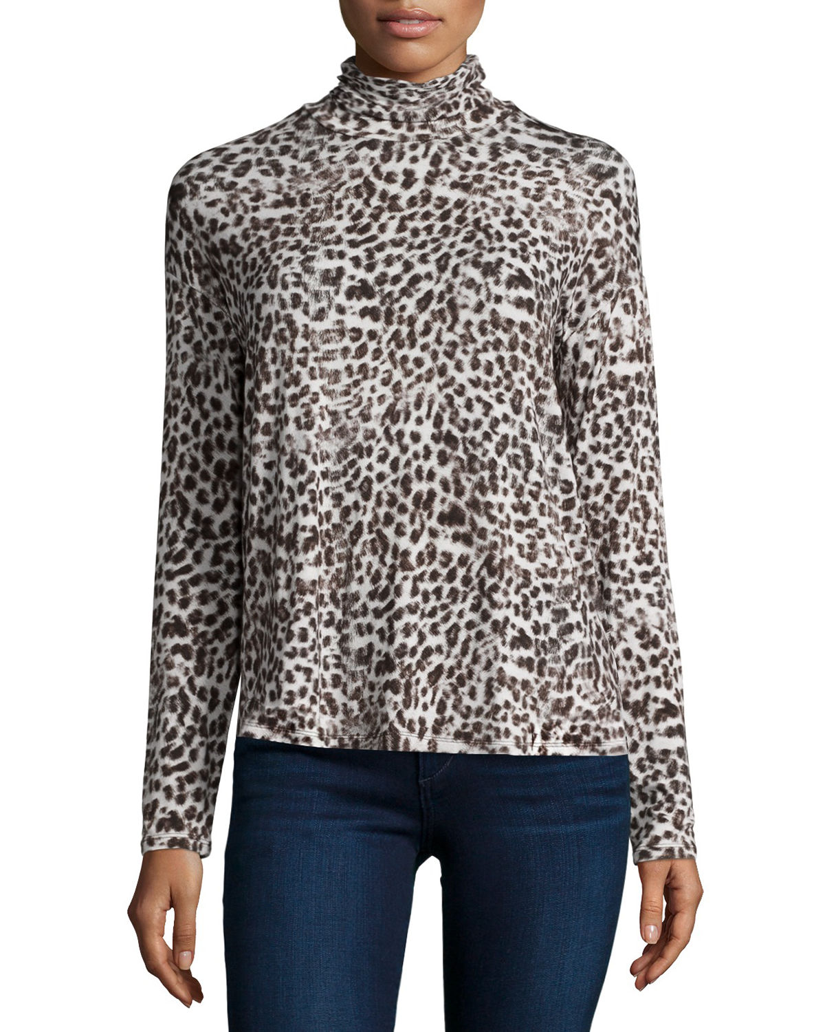Animal-Print Long-Sleeve Turtleneck