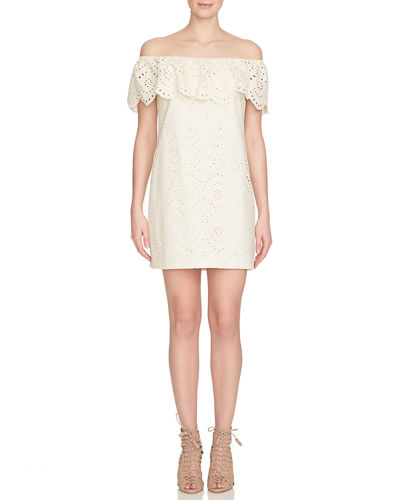Off-the-Shoulder Cotton Eyelet Shift Dress