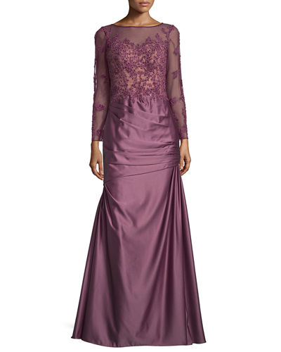 La Femme Long-Sleeve Embellished Taffeta Mermaid Gown