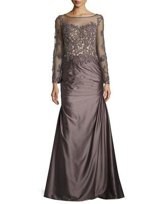 Long-Sleeve Embellished Taffeta Mermaid Gown