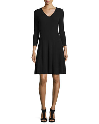 Magaschoni Ribbed Cashmere Fit-&-Flare Dress