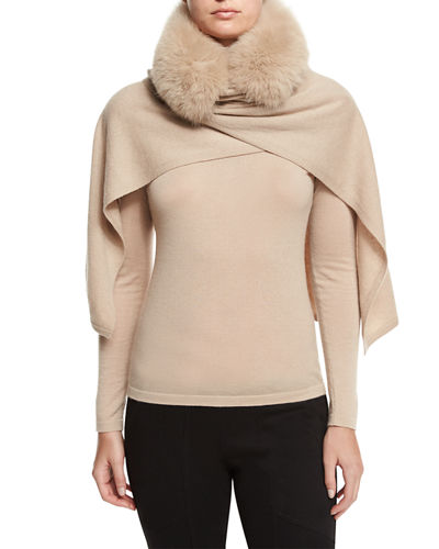 Neiman Marcus Cashmere Collection Fox Fur-Trimmed Cashmere Shawl