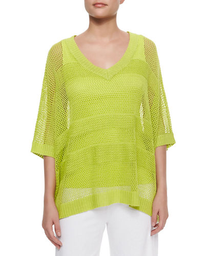 Joan Vass Mesh Striped Sweater, Plus Size