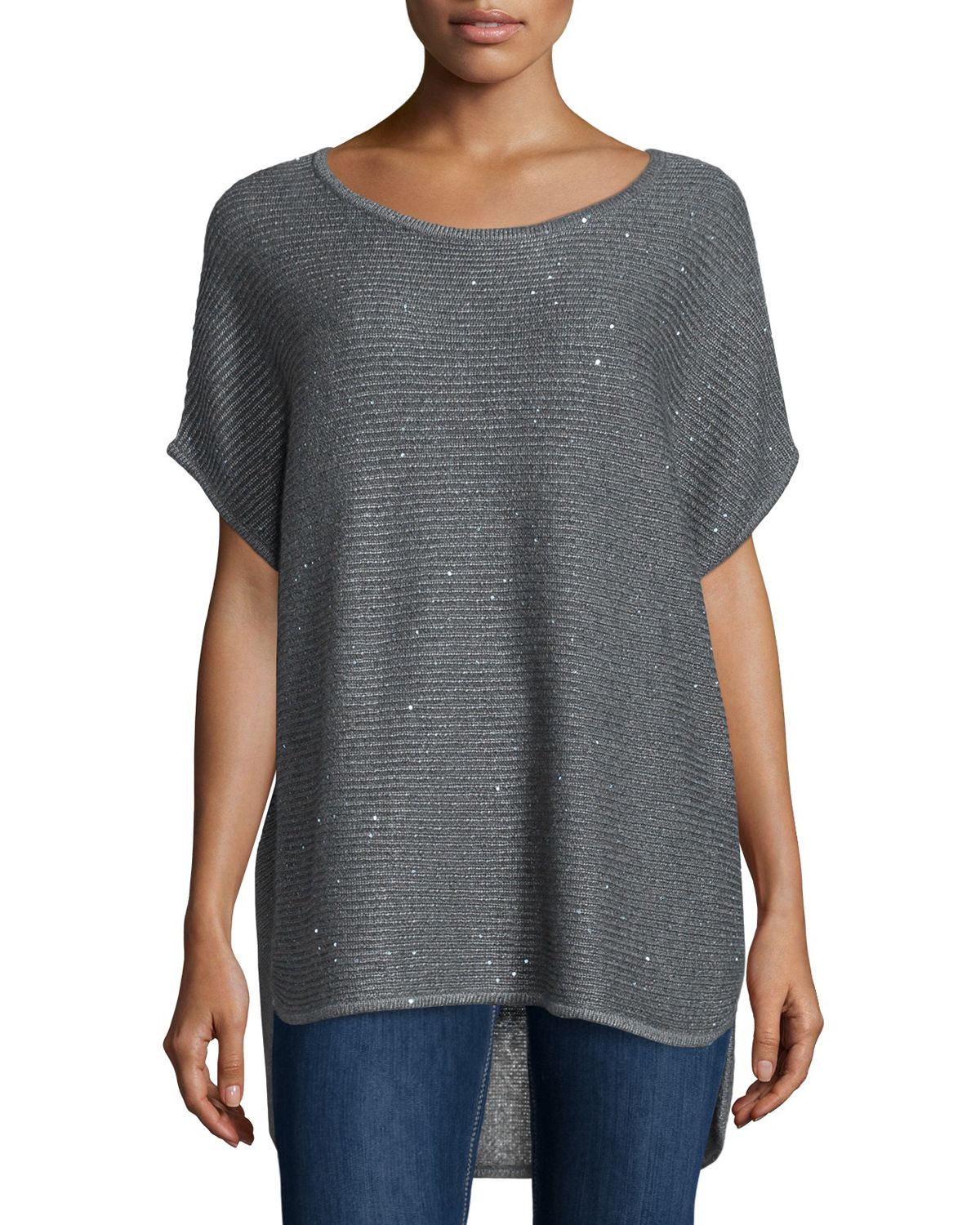 Horizontal-Ribbed Sequin Cashmere Top