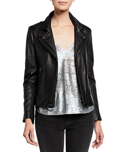 Iro Han Jersey-Knit Motorcycle Jacket & Carmel Tiered