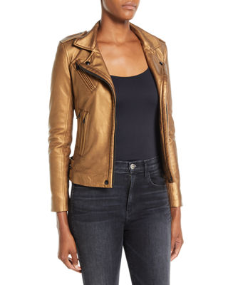 New Han Metallic Leather Jacket, Gold