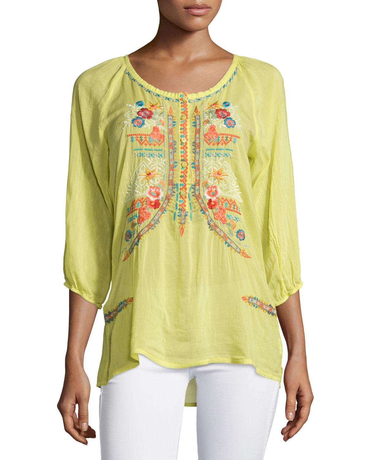 Ari 3/4-Sleeve Embroidered Blouse, Plus Size