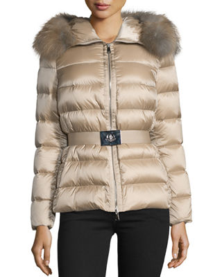 Tatie Hooded Fur-Trim Puffer Jacket