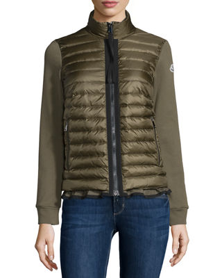 Image 1 of 5: Maglia Jersey Puffer-Front Cardigan
