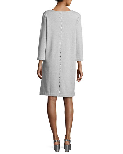 3/4-Sleeve Embellished Shift Dress, Petite