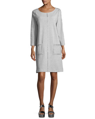Joan Vass 3/4-Sleeve Embellished Shift Dress, Petite