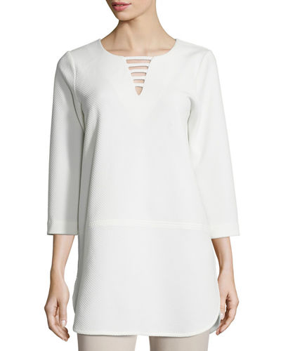 Joan Vass 3/4-Sleeve Lattice-Trim Tunic, Petite