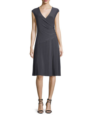 Image 1 of 5: Cap-Sleeve Faux-Wrap Dress, Petite