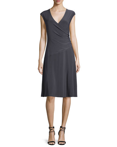 Cap-Sleeve Faux-Wrap Dress, Petite