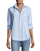 Frank & Eileen Eileen Long-Sleeve Striped Chambray Blouse