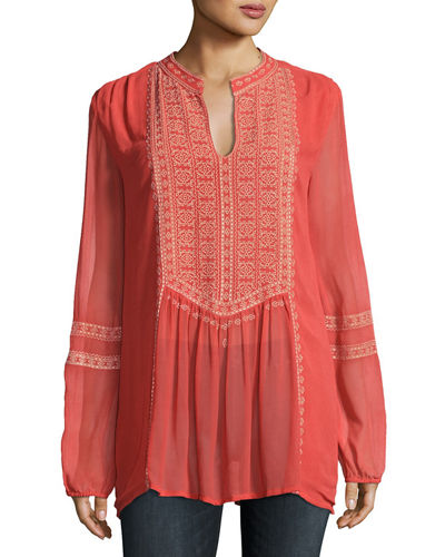 8bdfce9e42ed2 Quick Look. Tolani · Plus Size Lauren Embroidered Boho Blouse. Available in  Orange