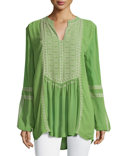 Lauren Embroidered Boho Blouse, Plus Size