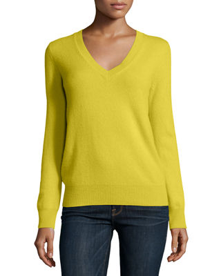 Neiman Marcus Cashmere Collection Long-Sleeve V-Neck Cashmere