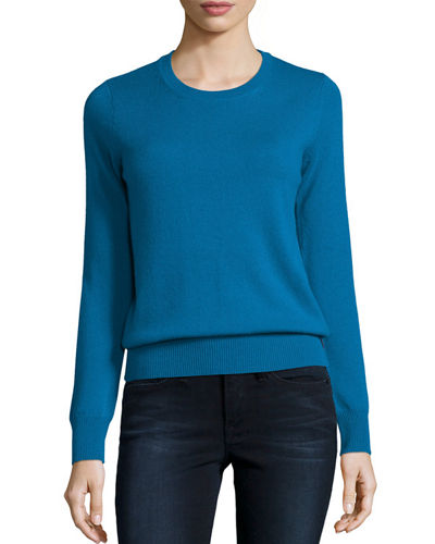 Neiman Marcus Cashmere Collection Long-Sleeve Crewneck Cashmere